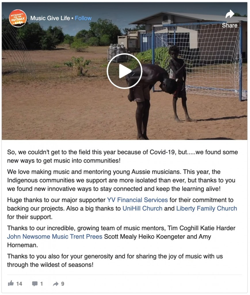 screenshot of a facebook post and video
