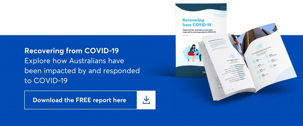 clickable image which says recovering from covid-19. explore how australians have been impacted by and responded to covid-19. download the free report here