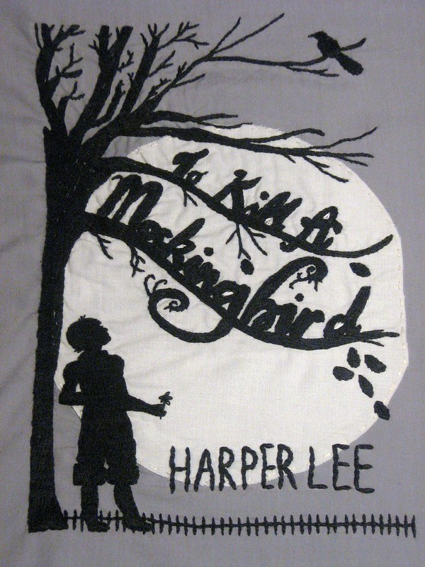 photo of an embroidery of the book cover for to kill a mockinbird