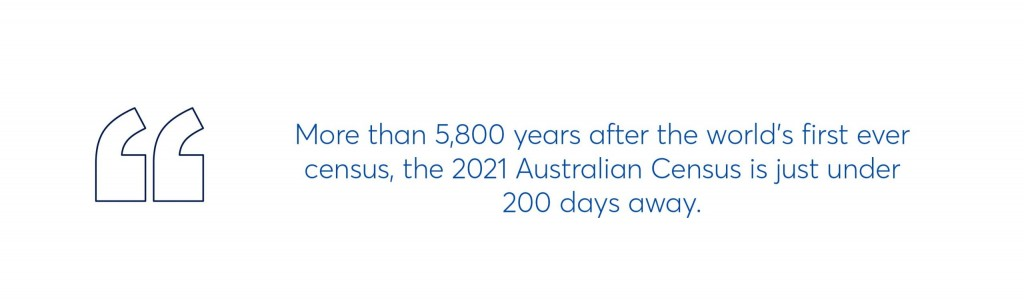 quote which reads more than 5,800 years after the world's first census, the 2021 australian census is just under 200 days away